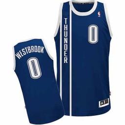 Russell Westbrook Authentic Navy Blue Oklahoma City Thunder #0 Alternate Jersey