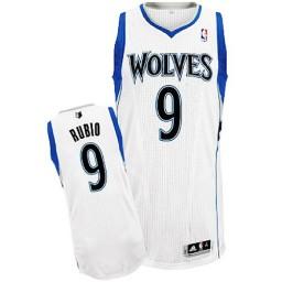 Ricky Rubio Authentic White Minnesota Timberwolves #9 Home Jersey