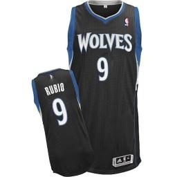 Ricky Rubio Authentic Black Minnesota Timberwolves #9 Alternate Jersey